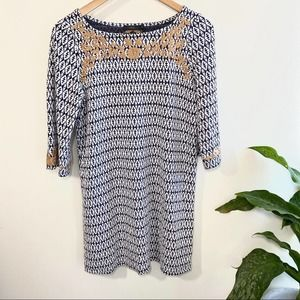 THML patterned knit dress with embroidered detail